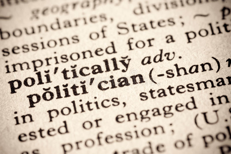Politician. Faded dictionary definition of the word politician stock photo
