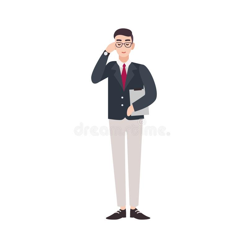 Politician, government worker, public servant, official or delegate dressed in smart suit. Funny male cartoon character. Isolated on white background. Colorful vector illustration