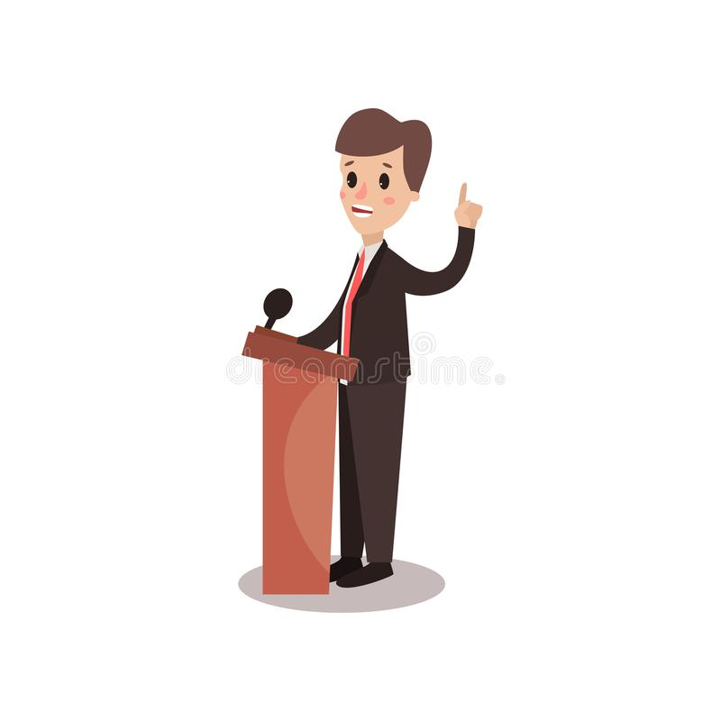 Politician man character standing behind rostrum and giving a speech, public speaker, political debates vector stock illustration