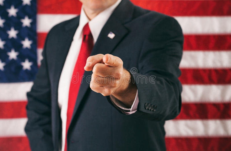 Politician: Man Pointing Directly Into Camera royalty free stock photos