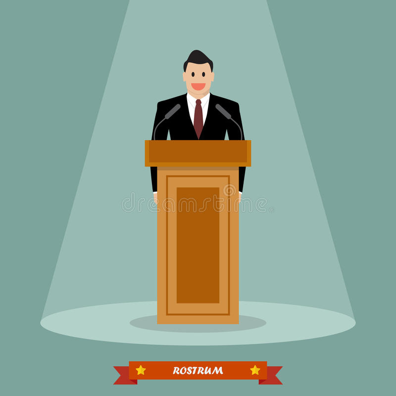 Politician man standing behind rostrum and giving a speech royalty free illustration