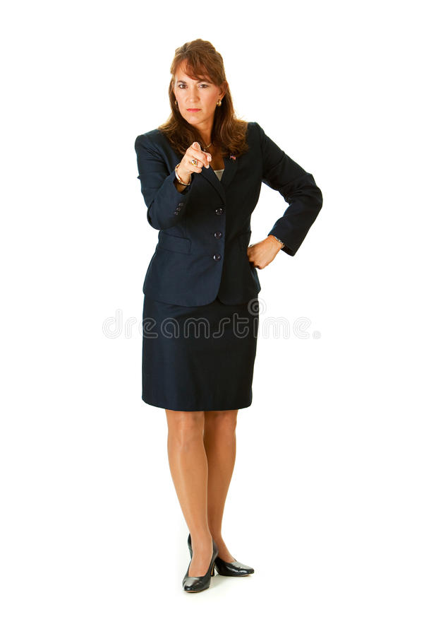 Politician: Pointing at Camera. Series with an adult female in a suit, playing the part of a United States politician. Different props provide a variety of royalty free stock image
