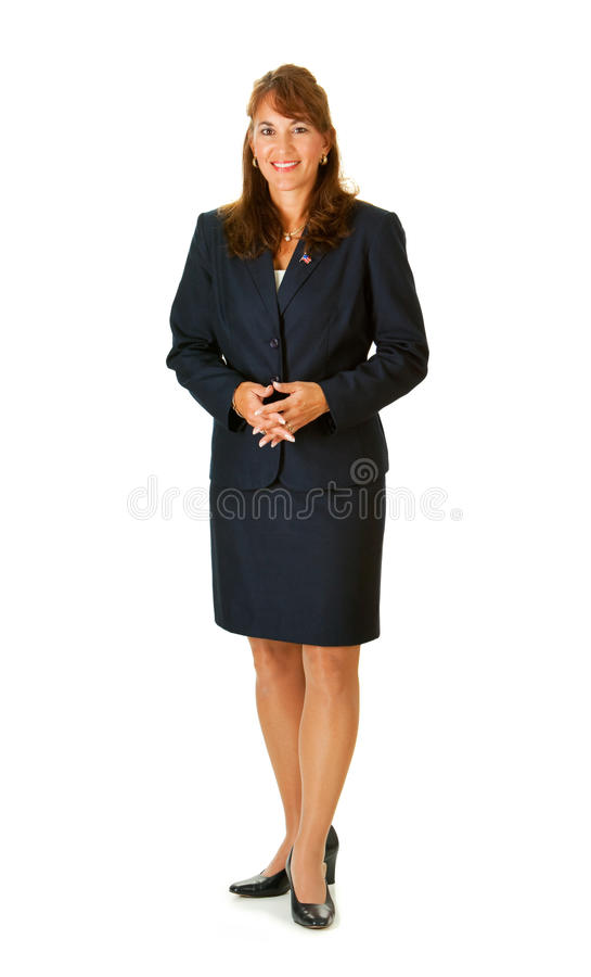 Politician: Politician Looking at Camera. Series with an adult female in a suit, playing the part of a United States politician. Different props provide a royalty free stock images