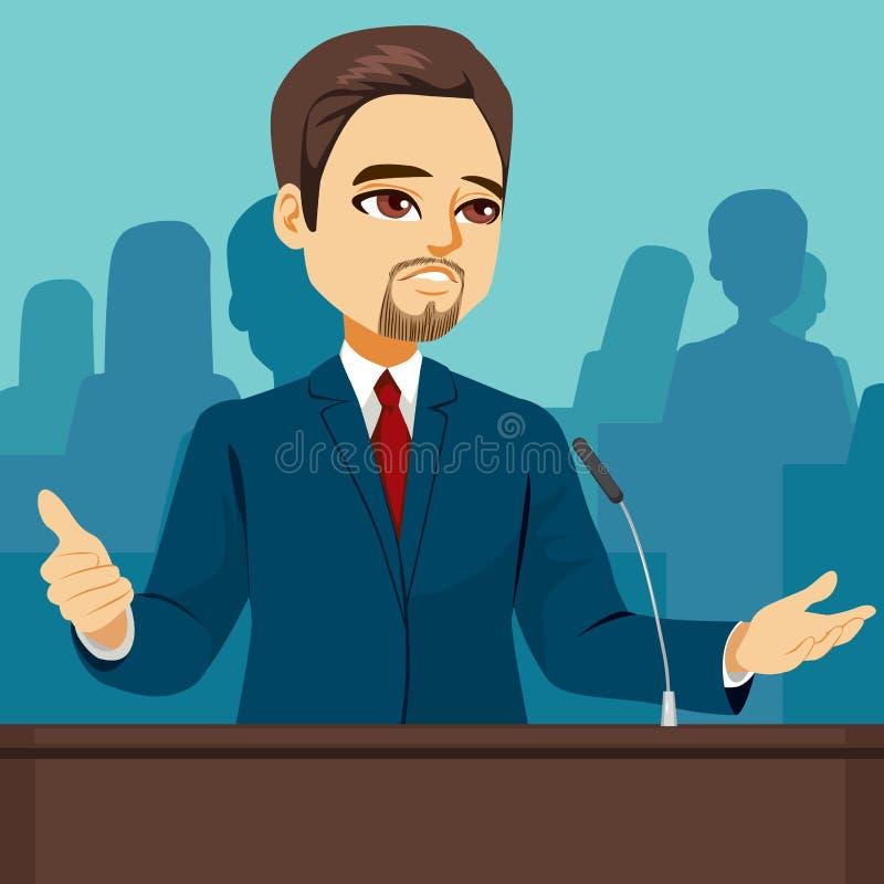 Politician Speaking Parliament. Male politician speaking at senate parliament conference vector illustration