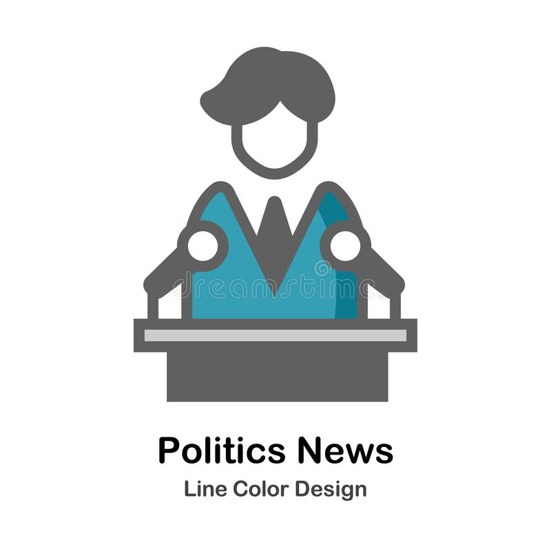 Politics News Flat Icon. Politician speech on podium icon in flat color design vector illustration royalty free illustration