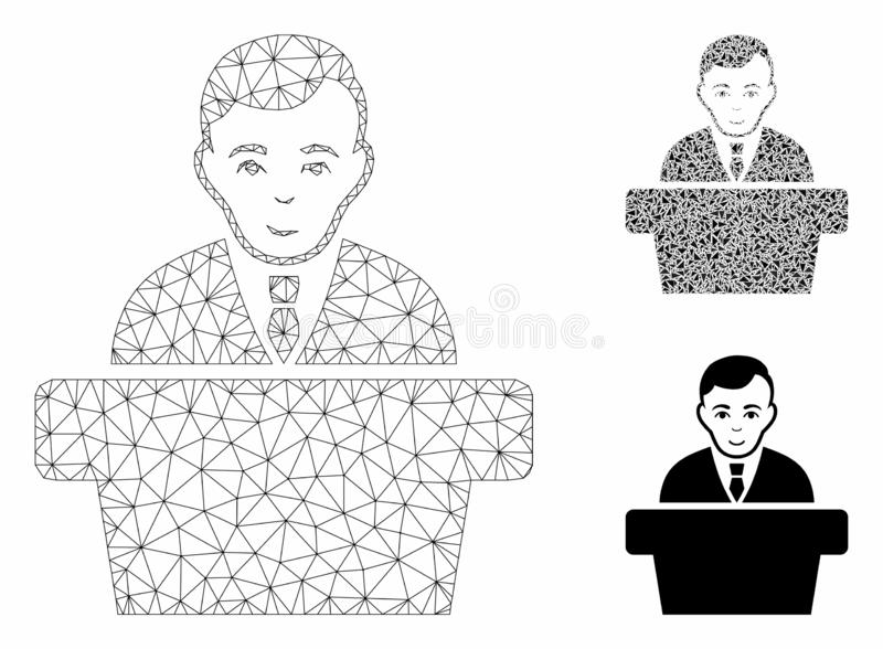 Politician Vector Mesh Carcass Model and Triangle Mosaic Icon. Mesh politician model with triangle mosaic icon. Wire carcass triangular mesh of politician royalty free illustration