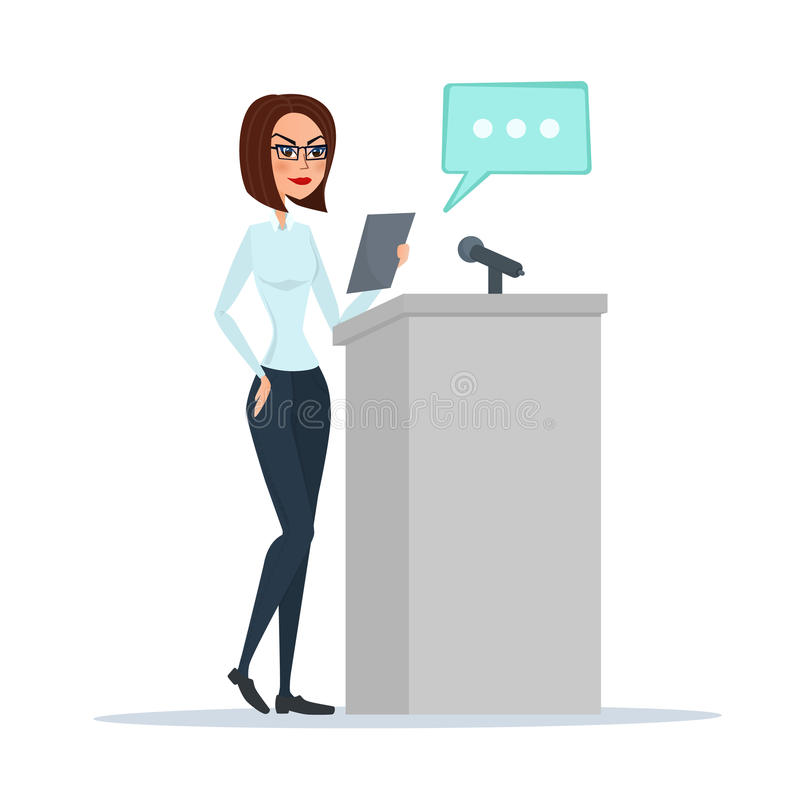 Politician woman standing behind rostrum and giving a speech. stock illustration
