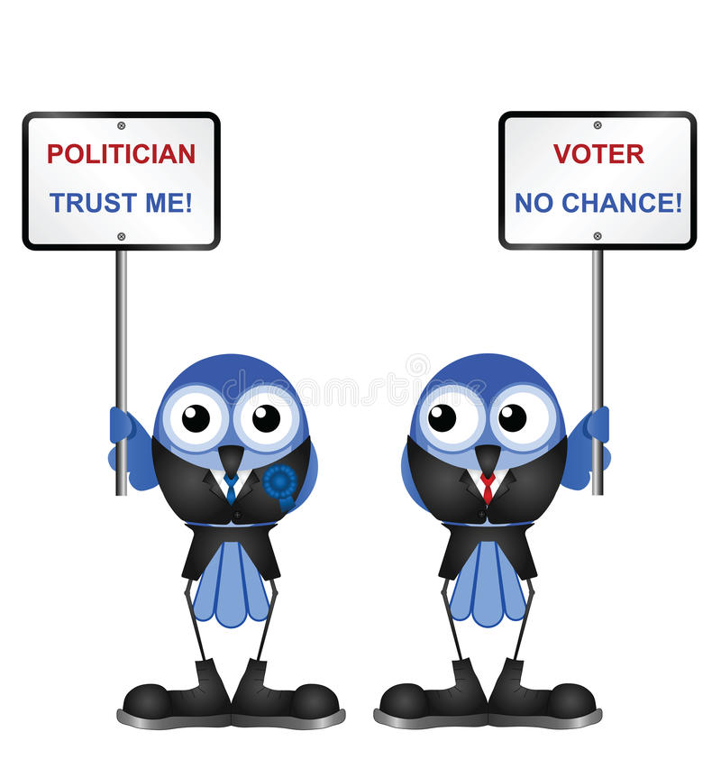 Politicians. Representation of politicians poor standing with the electorate stock illustration