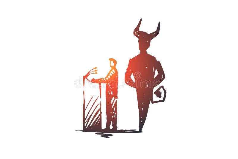 Politicien, discussion, concept d'élections Illustration d'isolement par croquis tiré par la main illustration de vecteur
