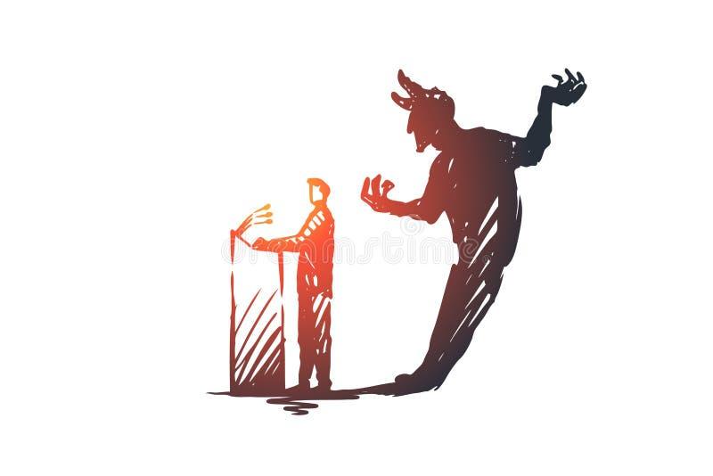 Politicien, discussion, concept d'élections Illustration d'isolement par croquis tiré par la main illustration libre de droits