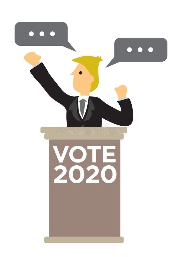 Politicien fournissant un discours à un rassemblement de campagne électorale illustration stock