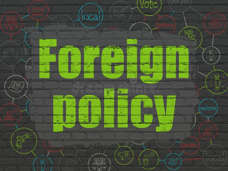 Politics concept: Foreign Policy on wall background. Politics concept: Painted green text Foreign Policy on Black Brick wall background with Scheme Of Hand Drawn vector illustration