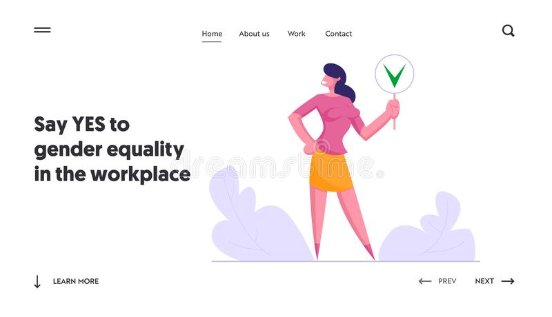 Politics Decision, Public Relations Website Landing Page, Businesswoman Hold Sign with Green Check Mark, Yes Symbol. Social Opinion, Voting, Election Web Page vector illustration