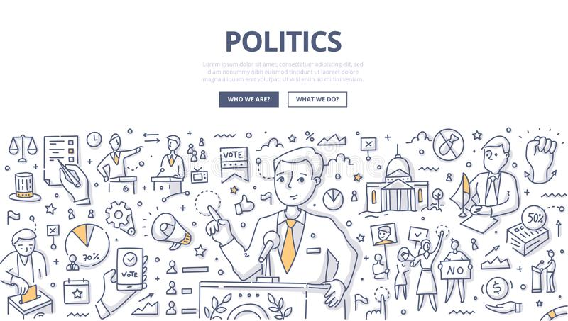 Politics Doodle Concept. Politician speaking at the pulpit. Doodle concept of politics, debates and electoral process for web banner, hero images and printing royalty free illustration