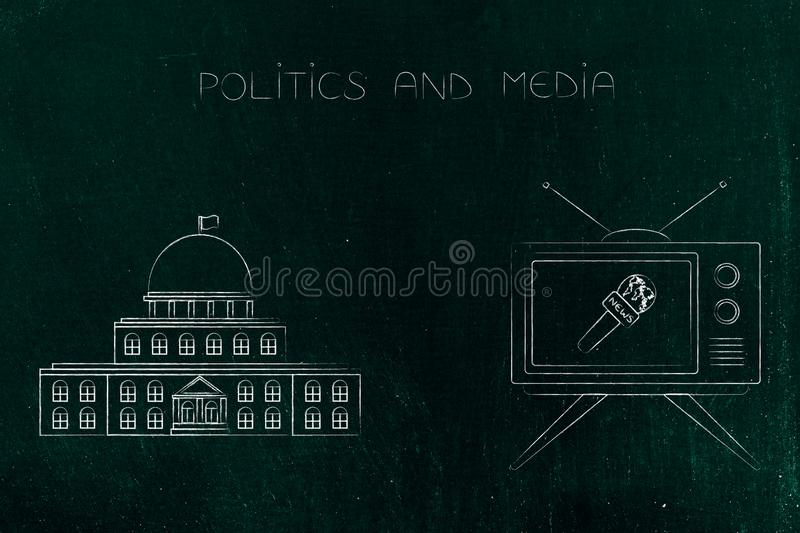 Governement building with tv and news microphone icon next to it. Politics and daily life conceptual illustration: governement building with tv and news stock illustration