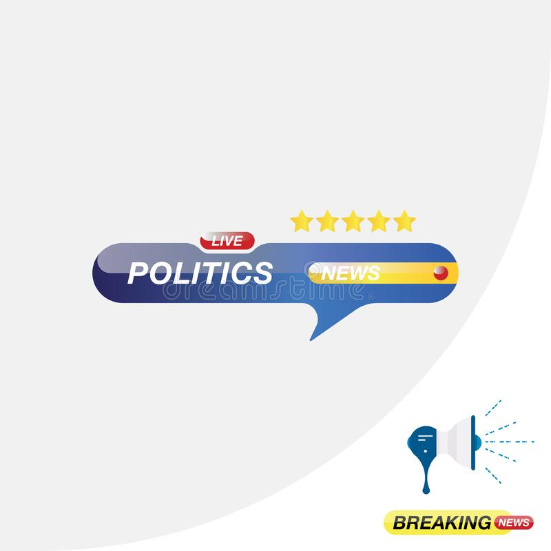 Politics news, icon for journalism of news TV channels and a loudspeaker on the background. Flat illustration EPS 10.  stock illustration