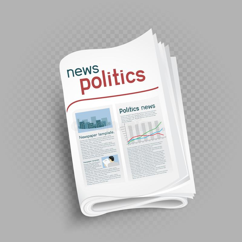 Politics newspaper press icon. On gray transparent background. Government and politic news stock illustration