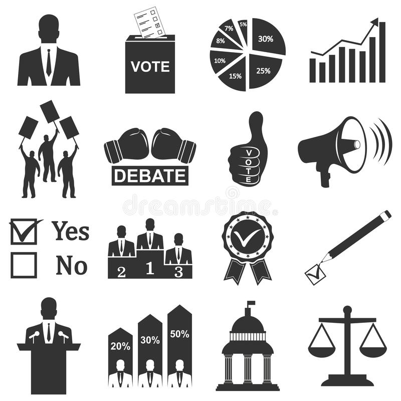 Politics, Voting and elections icons royalty free illustration