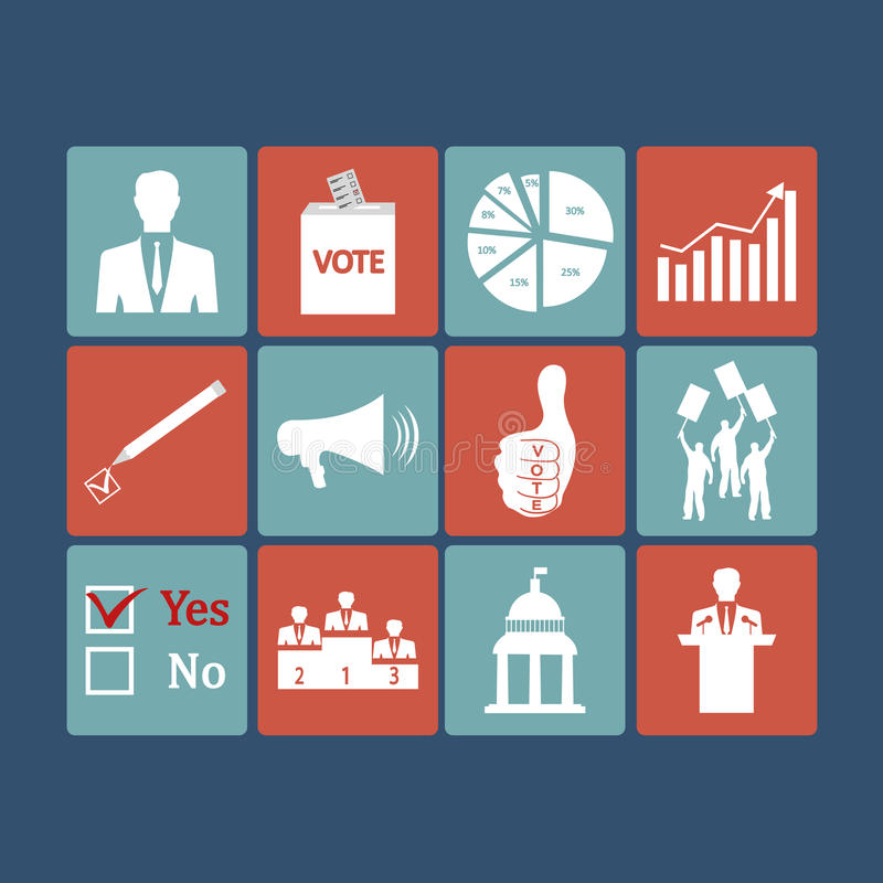 Politics, Voting and elections icons - vector icon stock illustration