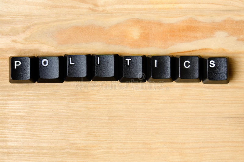 Politics word. With keyboard buttons stock images