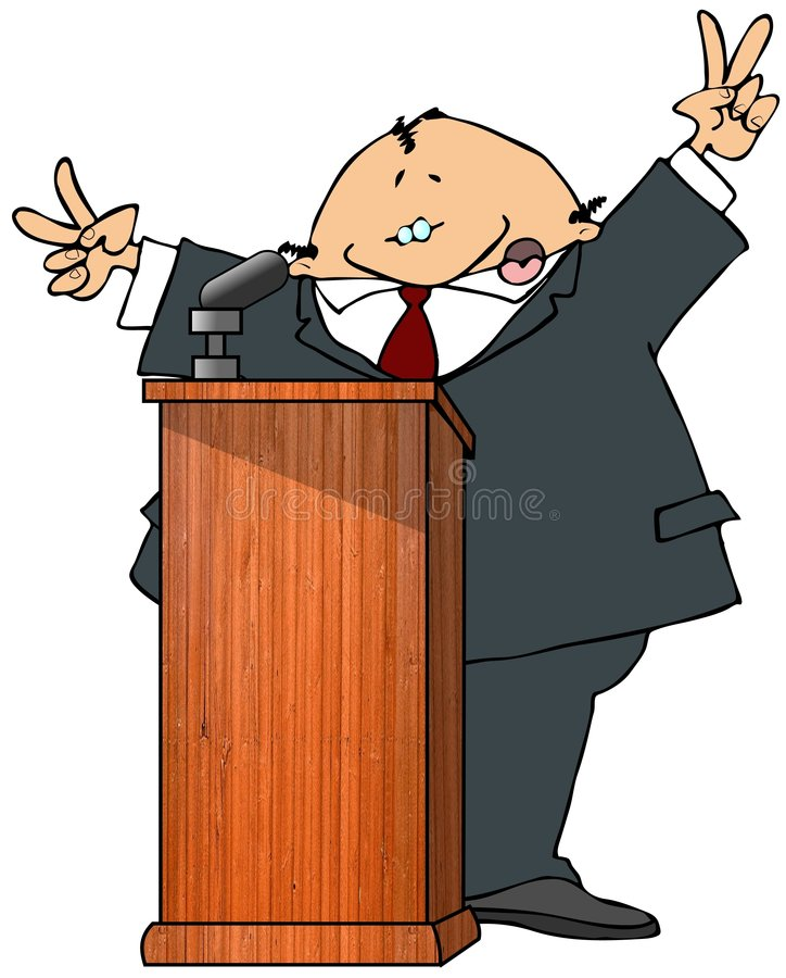 Politicus bij een Podium stock illustratie