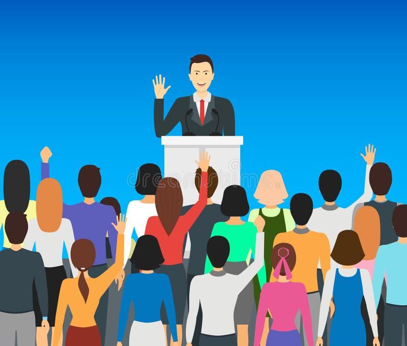 Politicus Card Poster van de beeldverhaal de Openbare Spreker Vector vector illustratie