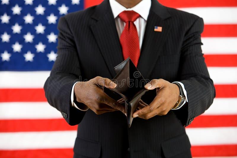 Politicus: De lege Portefeuille toont Armoedeconcept royalty-vrije stock afbeelding
