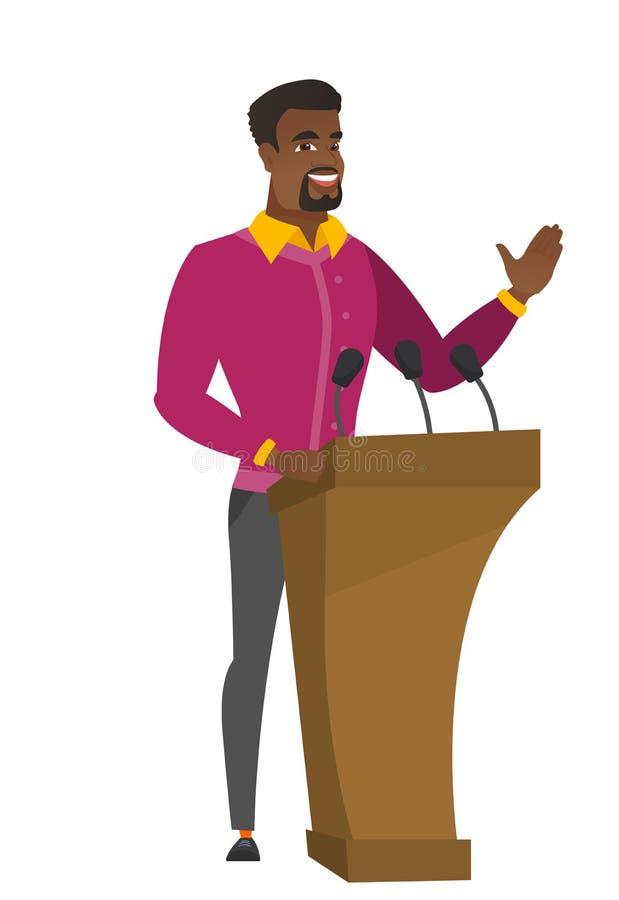 Politicus die een toespraak van tribune geven vector illustratie