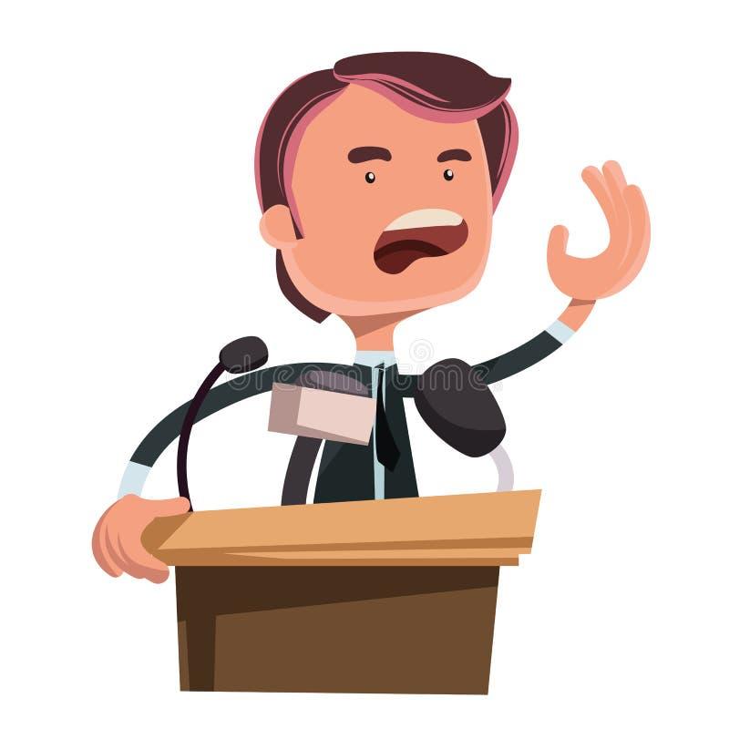 Politicus die het beeldverhaalkarakter geven van de toespraakillustratie vector illustratie