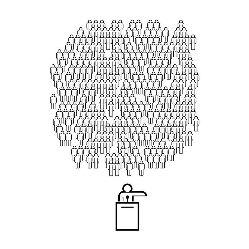 Politicus, Openbare Spreker op het Podium en de Mensengroep VectordieMensenmenigte van Eenvoudige Lijnpictogrammen wordt gemaakt royalty-vrije illustratie