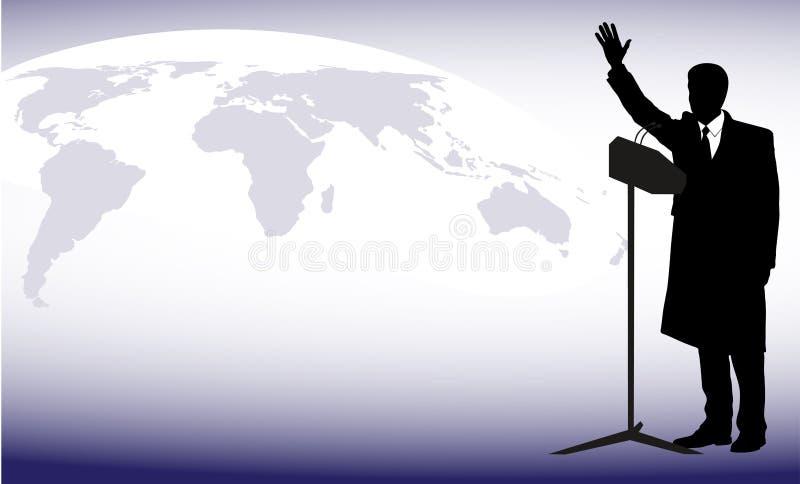 Politicus vóór een microfoon tegen een planeet royalty-vrije illustratie