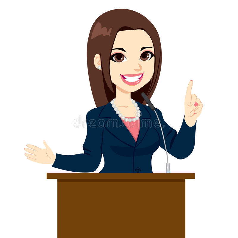 Politicus Woman Speech stock illustratie