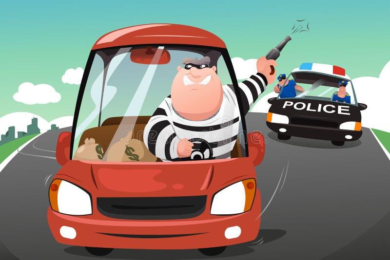 Politie die misdadigers in een auto op de weg achtervolgen royalty-vrije illustratie