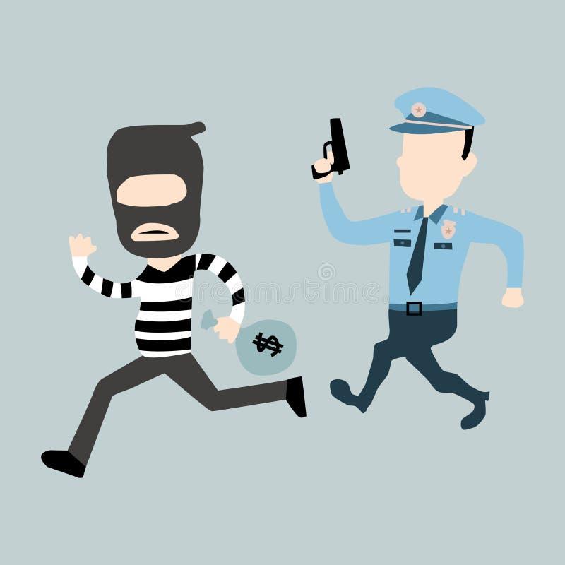 Politie en dief royalty-vrije illustratie