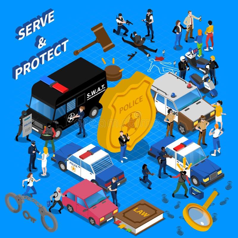 Politie Isometrische Illustratie royalty-vrije illustratie