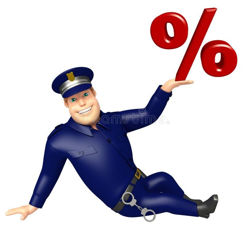 Politie met Percentageteken stock illustratie