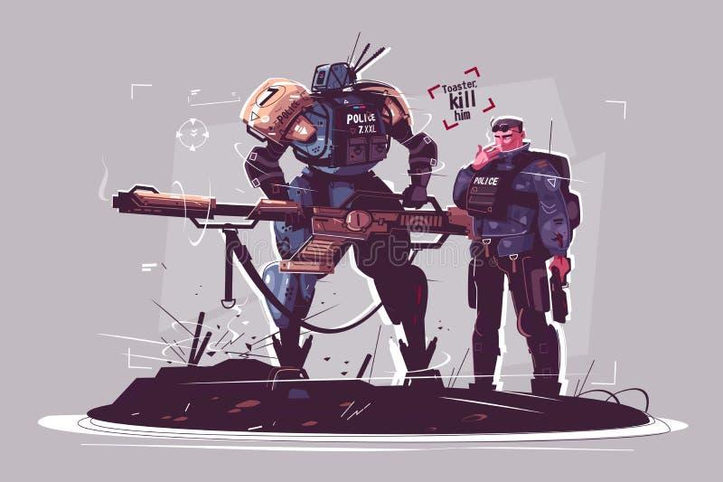 Politie van de toekomst royalty-vrije illustratie