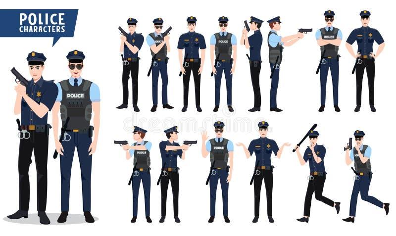 Politie vectorkarakter - reeks Politieagentkarakters die kanon in verschillende houding en handgebaren houden vector illustratie