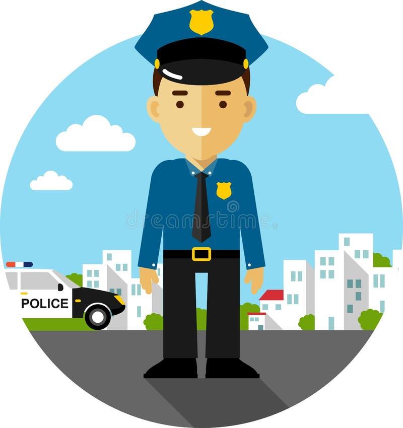 Politieagent in eenvormig vector illustratie