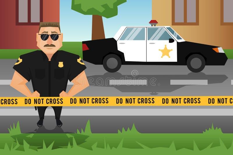 Politieagent en patrouillewagen vector illustratie