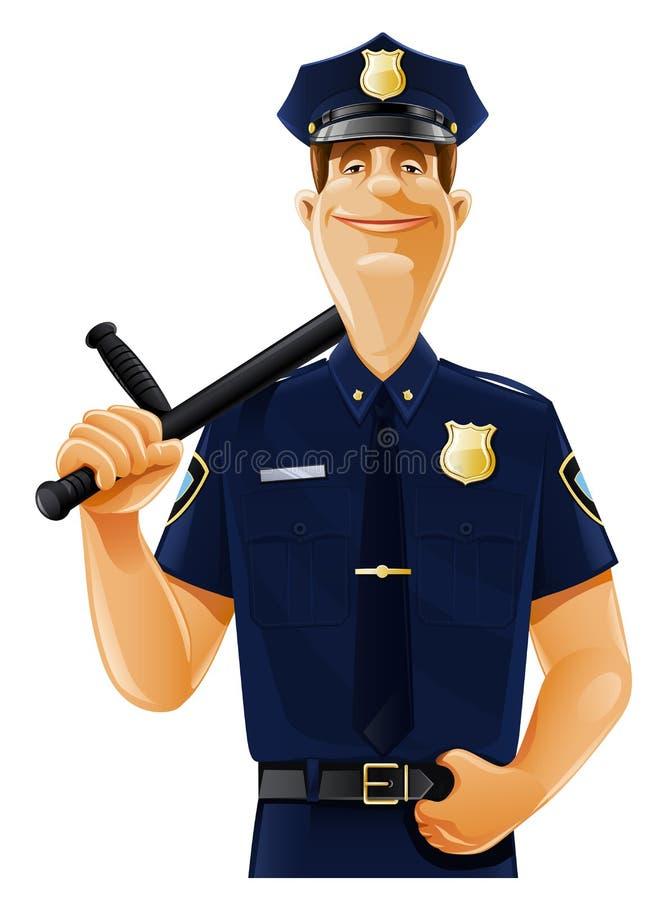 Politieagent met knuppel vector illustratie