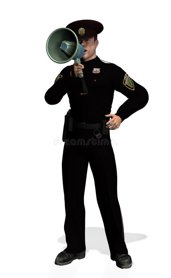 Politieagent met Megafoon 2 - met het knippen van weg royalty-vrije illustratie