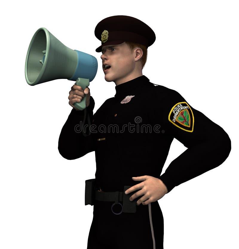 Politieagent met Megafoon - omvat het knippen weg vector illustratie