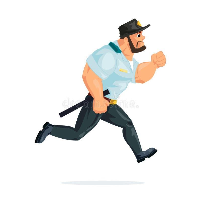 Politieagent in vorm, looppas, in achtervolging van misdadigers, overtreders, royalty-vrije illustratie