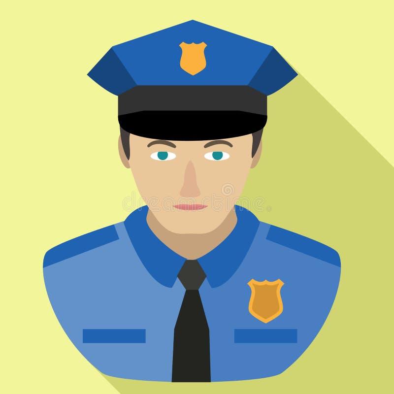 Politieagentavatar pictogram, vlakke stijl stock illustratie