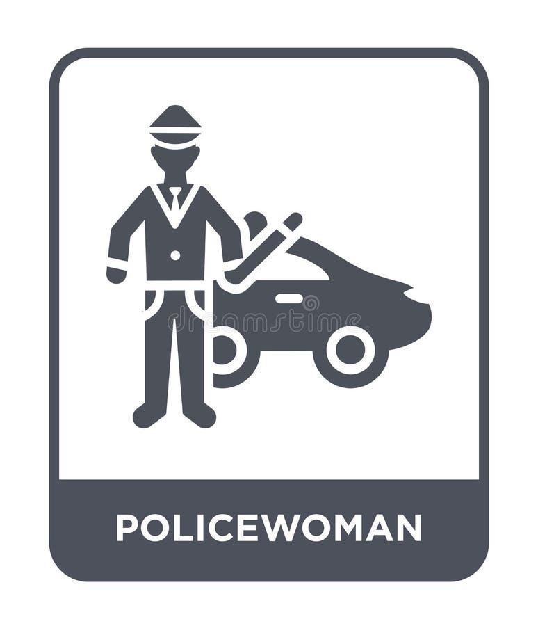 politieagentepictogram in in ontwerpstijl politieagentepictogram op witte achtergrond wordt geïsoleerd die eenvoudig en modern po royalty-vrije illustratie