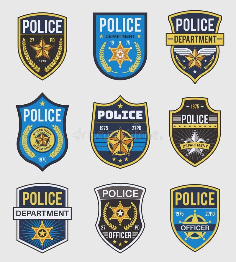 Politiebadjes Officiële overheidsbadge, speciale politiemacht en borden van de federale agent, politieman insignia stock illustratie