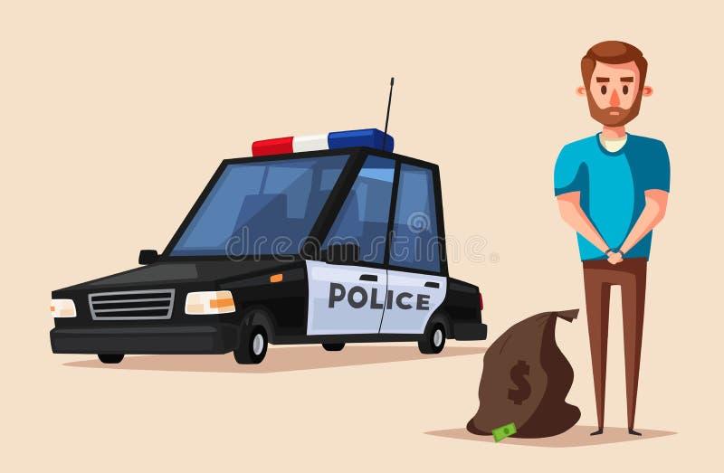 Politiebanner De vectorillustratie van het beeldverhaal royalty-vrije illustratie