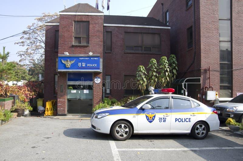 Politiebureau en auto in Seoel royalty-vrije stock foto's