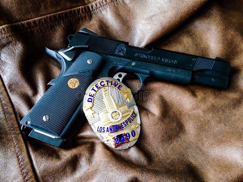 Politiedetective, Los Angeles, Californië stock afbeelding